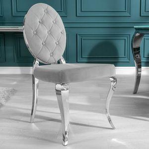 Eleganter MODERN BAROCK Samt Stuhl mit Zierknöpfen Edelstahl Stuhl Barockstuhl Esszimmerstuhl