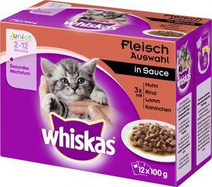 Whiskas Junior Fleisch Auswahl in Sauce (12 x 100 g)