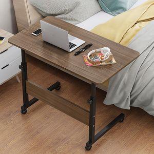 Laptoptisch Betttisch Notebooktisch höhenverstellbar Computertisch Pflegetisch Mit Rollen 80x40cm, Braun
