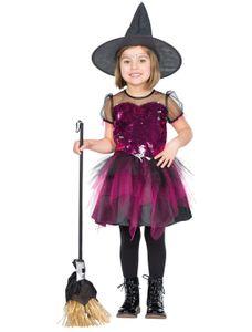 Kostüm Kleid Hexe Glitzer Kinder Größe: 128
