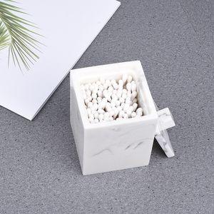 Mit DeckelWattestäbchen Aufbewahrung-Marmor weiß