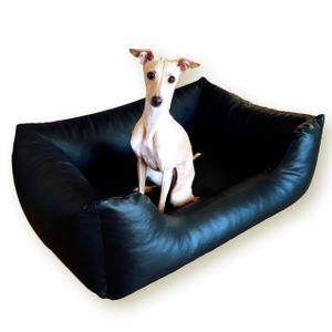 Hundebett MARIO aus Kunstleder Hundekorb Hundesofa Hundeliege Hundekissen S 100x70 Schwarz