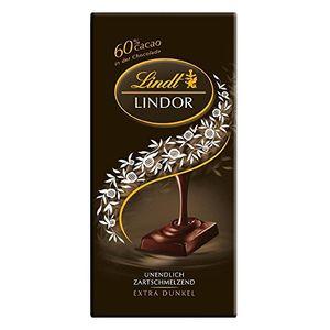 Lindt & Sprüngli Lindor, Extra Dunkel Schokolade 60% cacao (10x100g Tafel)