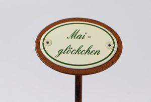 Pflanzenstecker Maiglöckchen, Pflanzenschild Emaille, Beetstecker Erdspieß 25 cm