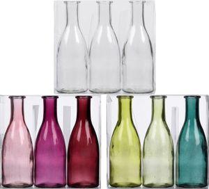 Set 3-tlg Glasvase Bottle, Farbe:Pink