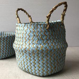 Faltbar Pflanzkorb Seegras Bauch Gewebt Blumen-Korb Pflanzen Töpfe Aufbewahrungstasche Farbe : Blau