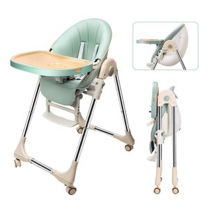 OUNUO Hochstuhl Kinderhochstuhl Babystuhl Mitwachsender Kombihochstuhl Höhen Rückenlehne Verstellbar und Klappbar (Grün)