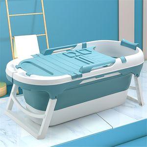Sunnyme Faltbare Badewanne Erwachsene Badewanne für Erwachsene Große Kunststoff Folding Badewanne für Dusche 140x63x57.4cm,Blau