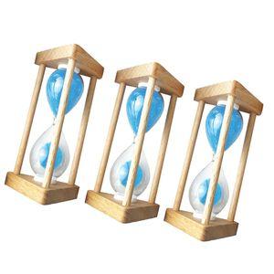3 Pcs Sandglass Set, Sanduhr mit Holzrahmen & Blau Sand Dekoration Timer für Kochen, Maske, Yoga, Spielen, Zähneputzen ( 30 Sekunden + 10Minuten + 3 Minuten )