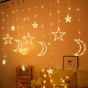 Stern Mond Fee Lichtervorhang  LED Vorhang Lichterketten Girlande Hochzeitsfeier Nachbildung Lampe Warmweißes Licht