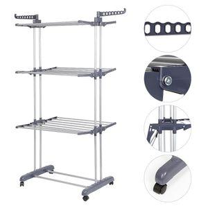 Wäscheständer mit Klappflügeln, Luxus Wäscheständer , Seitenflügel auf 3 Ebenen,75*64*170cm,Silber grau-OV