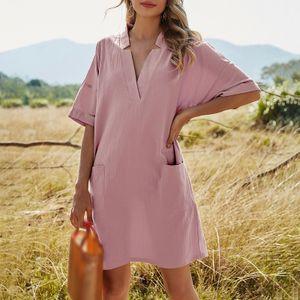 Damen Freizeitkleid V-Ausschnitt Halbarm Taschen Einfarbig Loose Fit Elegantes Midikleid,Rosa-L