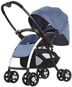 Faltbarer Kinderwagen Kohlenstoffstahl Wendbarer Elterngriff Mit Regenschutz + Kapazität 25kg für 0-3 Jahre Altes Baby (Dunkelblau)