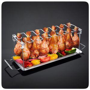PRECORN BBQ Hähnchenschenkel Halter mit Auffangschale für Grill Backofen Hähnchen Grill Ständer für 14 Keulen