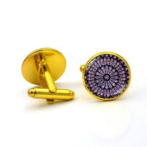 Herrenhemd Glass de Paris Gold Manschettenknöpfe Manschettenknöpfe Hochzeit XSL90417622C