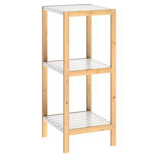 Casaria Standregal Badregal Küchenregal Bambus Badezimmerregal Holz Regal Bad MDF Weiß, Variante:3 Ablagen