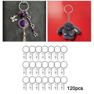 120 Sets Metall Schlüssel Ringe mit Ketten und Srews Jumper Ringe Splitter Split Key Ring Kette Teile für Schmuck Machen DIY Handwerk Zubehör 25mm Silber