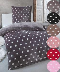 Warme Winter Plüsch Sterne Wende-Bettwäsche Nicky-Teddy 'Cashmere Touch'  viele Farben & Größen, Farbe:GRAU, Größe:135 x 200 cm