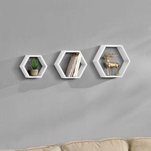 [en.casa] Stylisches Wandregal 3-teilig weiß matt im Retro-Design