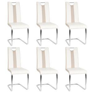 6er-set Esszimmerstühle    Freischwinger Stühle Bow Esstischstuhl Küche Küchenstuhl Barstuhl - Hochlehner Sitzgruppe   Kunstleder Weiß+schwarz