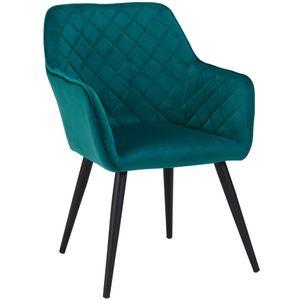 Duhome Esszimmerstuhl Armlehnstuhl Sessel Armsessel Stoff Samt Petrol Grün Blau Metallbeine