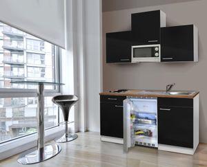 respekta Miniküche Küche Singleküche Küchenzeile Küchenblock 150 cm weiß schwarz