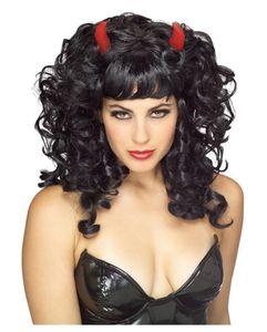 Schwarze Teufelsperücke mit frechen Locken & Hörnern für Halloween & Fasching