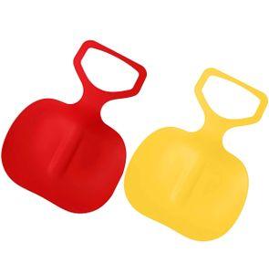 2er Pack Schneegleiter Kinder Schneeschlitten Poporutscher Schnee Flexibel Kunststoff Rutscher Schlitten (Rot+Gelb)