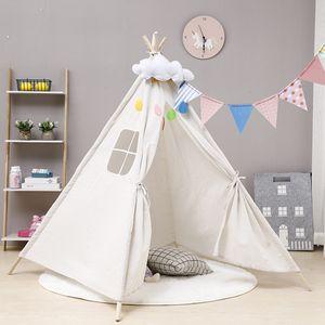 120 * 120 * 160cm große Leinwand Kinder Tipi Spielzelt Kinder Wigwam Holz Indoor Outdoor Spielhaus