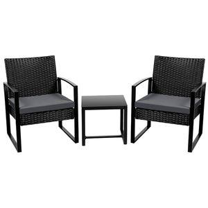Yaheetech Gartenmöbelset Polyrattan Balkonset Sitzgruppe Sitzgarnitur Lounge Set anthrazit