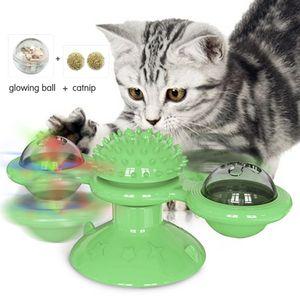 Interaktive Katze Windmuehle Plattenspieler Spielzeug Elektronische Smart Cat Teasing Spielzeug Haustier Molar Bite Spielzeug Haarbuerste Geeignet fuer Haustier Katzen Kaetzchen (Gruen)
