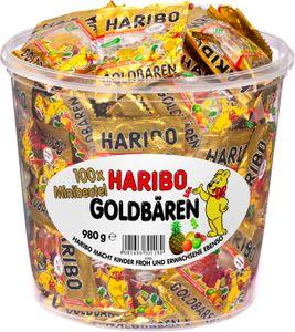 Haribo Goldbären 100 x Minibeutel in praktischer Vorratsdose 980g