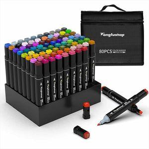 80 Farbige Graffiti Stifte set, Farbige Marker Stifte Set Fettige Mark Farben Twin Tip Textmarker