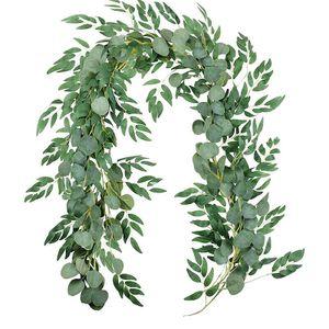 Künstliche Eukalyptuskranz hängende Rattan Efeu grüne Pflanzen Hochzeitsdekoration Kranzpflanzendekoration