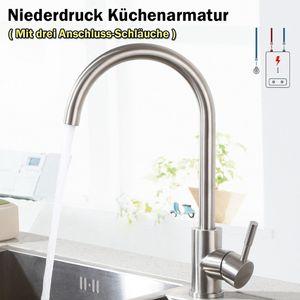 Niederdruck Küche Wasserhahn, 360° Drehbar Küchenarmatur, Mischbatterie, Spültischarmatur für Durchlauferhitzer, mit 3 Anschlussschläuche