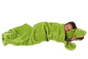 Deluxe Schlafsack für Kinder Kinderschlafsack Plüsch Dinosaurier Dinosaurierschlafsack 165 cm Dino Schlaf Sack grüner Tierschlafsack Tier Reptil Kind grün