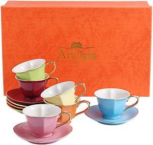 Artvigor, Porzellan Kaffeeservice, Bunt 12 teilig Kaffee Set, mit je 6 Kaffeetassen 150 ml und Untertassen, Herz-Form