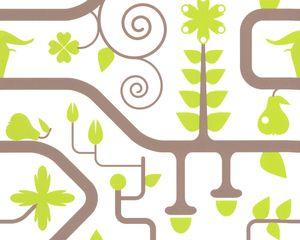 Lars Contzen Designertapete el Paraiso, braun, grün, weiss, 10,05 m x 0,53 m, 880611, 8806-11