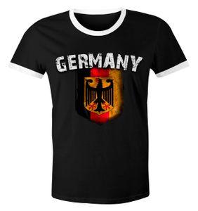 Cooles Herren Fußball WM 2018 T-Shirt Deutschland Flaggen Design Vintage Retro Trikot-Look schwarz-weiß 3XL
