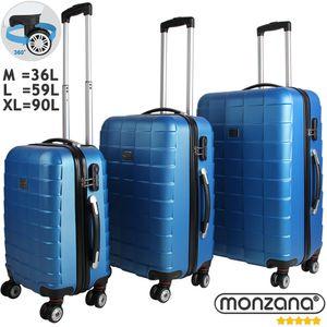 Monzana® 3tlg Koffer Reisekoffer Set Trolley Hartschalenkoffer Reisekofferset XL, Farbe:blau