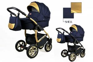 Kinderwagen Gold Lux Shell,3in1- Set Wanne Buggy Babyschale Autositz mit Zubehör