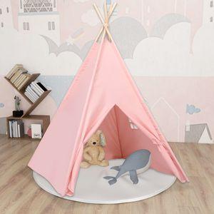 Chunhe Kinder Tipi-Zelt mit Tasche Pfirsichhaut Rosa 120x120x150 cm