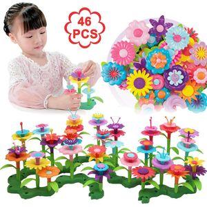 HLHBDSM Kinder Blumengarten Spielzeug,Blume Bausteine für Kinder Bauspielzeug,Kinder Outdoor Spielzeug DIY Bouquet Set, Spielzeug ab 3 4 5 6 Jahre mädchen .(46 PCS),Entdeckerspielzeuge,HM-03424