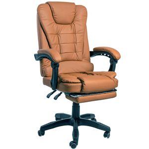 Schreibtischstuhl Design Bürostuhl Racing Chair Chefsessel Gamingstuhl Fußstütze, Farbe:Braun