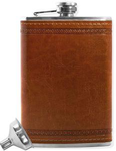 OUTDOOR SAXX® - Edelstahl Flachmann, edles Leder Design   hochwertige Taschen-Flasche   260ml Schraub-Verschluss, Einfüll-Trichter, in Geschenk-Box