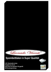 Spannbettlaken 180-200x200 cm Baumwolle Jersey Schwarz