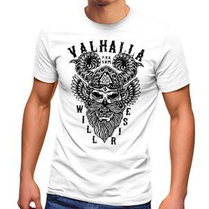 Herren T-Shirt Valhalla Will Rise Viking Helm Odin Krieger Fashion Streetstyle Neverless®  weiß XXL