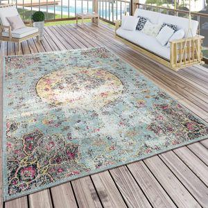 In- & Outdoor Teppich Modern Orient Print Terrassen Teppich  Türkis, Grösse:120x170 cm