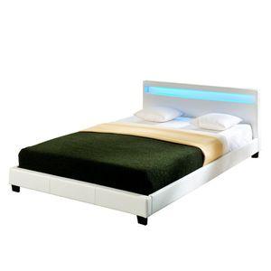 Corium® LED Polsterbett 'Paris' - 140 x 200 cm - Weiß Kunstleder - mit Lattenrost und RGB Beleuchtung