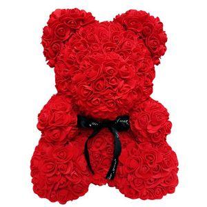 Unsterbliche Rose Teddybär Blumenbär 25 cm-Valentinstag Geburtstagsfeier Hochzeitsdekoration Simulation Rose Blume Bär-Bordeaux Rot